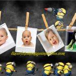 Fotomontaje de Minions para colocar cuatro fotos
