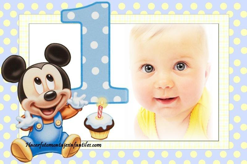 Fotomontaje de Mickey Baby para primer cumpleaños | Fotomontajes ...