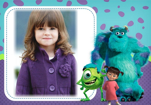 Fotomontaje de Monster Inc Mike, Sulley y Boo