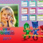 Fotomontaje de Calendario 2017 Pj Masks o Héroes en Pijamas