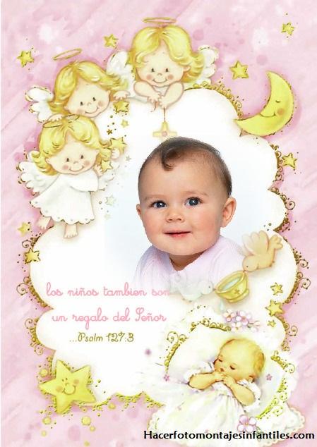 Fotomontaje de Bautismo con angelitos
