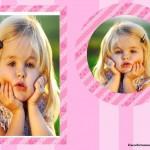 Fotomontaje de marco rosa para dos fotos