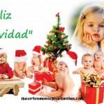 Fotomontaje de Navidad con dulces bebés