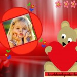 Fotomontaje de osito con corazón