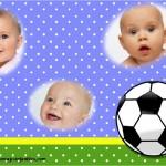 Fotomontaje de pelota de fútbol para tres fotos