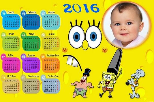 Marcos calendario 2016 Bob Esponja con Foto