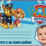 Paw Patrol invitacion de cumpleaños con foto, fotomontaje de Paw Patrol