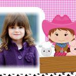 Fotomontaje infantil de niña vaquerita