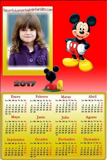Fotomontaje de Mickey Calendarios 2017 - Calendarios 2017 con foto - almanaques infantiles personalizados