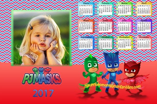Pj Masks Calendario con foto 2017 -Almanaques 2017 - Calendarios infantiles con foto PJ Masks